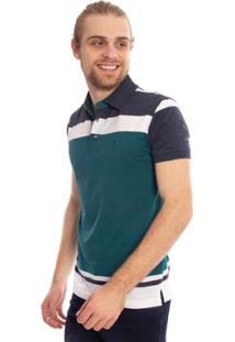 Camisa Polo Listrada Full Aleatory Masculina - Masculino-Verde