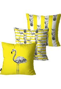 Kit Com 3 Capas Para Almofadas Decorativas Amarelo Flamingos 45X45Cm Pump Up