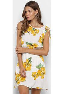 Vestido Floral Pérola Evasê - Feminino-Branco+Amarelo