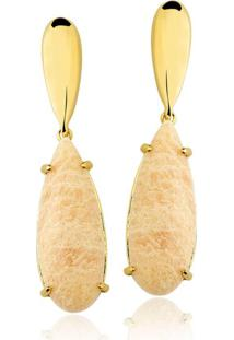 Brinco Toque De Joia Gota Amazonita Nude Ouro Amarelo