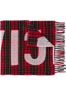 Balenciaga Echarpe Estampado Com Logo Vermelho Em Lã