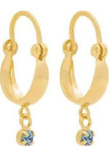 Brinco Rommanel Banhado Argola Cristal Feminino - Feminino-Dourado