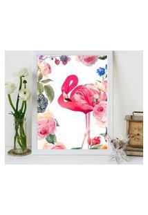 Quadro Decorativo Com Moldura Flamingo Flowers Branco - 20X25Cm