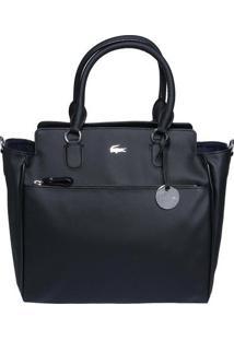 Bolsa Texturizada Com Bag Charm - Preta - 48X33X15Cmlacoste