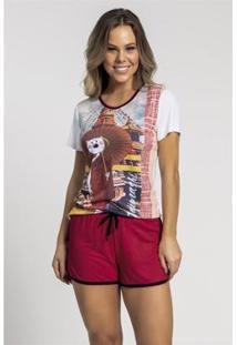 Pijama Recco De Malha Touch E Viscose Feminino - Feminino-Vermelho