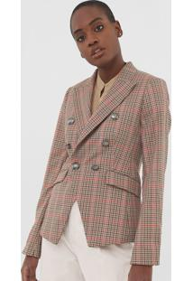 Blazer Banana Republic Double Breasted Plaid Bege