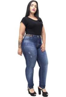 Calça Jeans Xtra Charmy Plus Size Skinny Eda Feminino - Feminino
