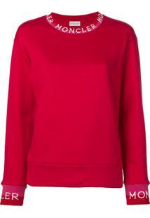 Moncler Suéter Com Logo Bordado - Vermelho