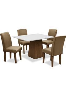 Conjunto De Mesa Para Sala De Jantar Com 4 Cadeiras Florença Fit-Dobue - Castanho / Branco Off / Castor