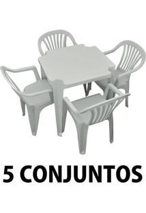 Conjunto Mesa E 4 Cadeiras Poltrona Plastico Branco 5 Conjuntos