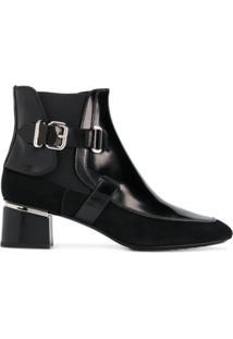 Tod'S Ankle Boot De Couro E Camurça Com Fivela - Preto