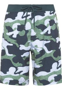 Bermuda Masculina Board Short Camuflada - Verde