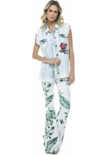 Colete Jeans Patches - Feminino