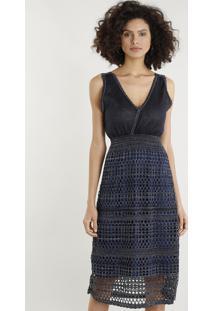 230a337443 Vestido Azul Transpassado feminino