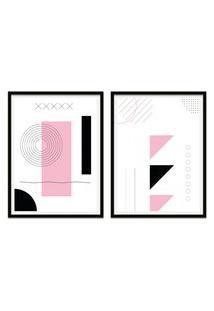 Quadro Oppen House 67X100Cm Formas Geométricas Liberté Rose Moldura Preta Sem Vidro