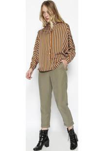 Camisa Ampla Listrada - Amarelo Escuro & Off Whitecalvin Klein
