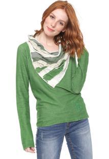 Suéter Desigual Tricot Antast Verde/Off-White