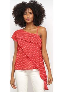 Blusa Favorita'S Assimétrica Poá Feminina - Feminino-Vermelho