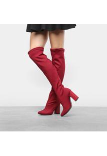 Bota Over The Knee Dakota Quincy Com Malha Canelada Feminina - Feminino-Vinho