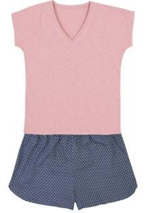 Pijama Feminino Em Malha De Algodão Com Flamê E Shorts Estampado