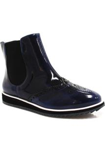 Bota Zariff Shoes Oxford Flatform Chelsea - Feminino-Azul