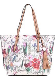 Bolsa Wj Shopper Floral Feminina - Feminino-Branco+Rosa