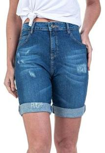 Bermuda Jeans Camila Destroyed Feminina - Feminino-Azul