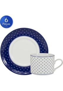 Conjunto 6 Xícaras De Chá Com Pires Maitê - Schmidt - Branco / Azul