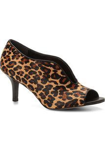 Ankle Boot Couro Shoestock Vamp Salto Fino Onça - Feminino