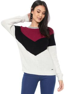 Suéter Dudalina Tricot Listras Off-White/Rosa