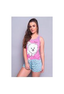 Baby Doll 4 Estações Pijama Cachorrinho Short Curto Regata Feminino Máe Com Tapa Olho Rosa