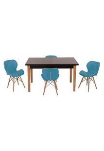 Conjunto Mesa De Jantar Luiza 135Cm Preta Com 4 Cadeiras Slim - Turquesa