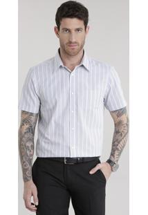 Camisa Comfort Listrada Cinza