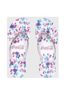 Chinelo Coca Cola Anabela Floral Branco/Azul
