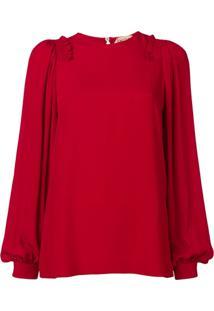Nº21 Blusa Com Babado - Vermelho