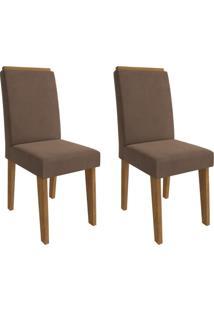 Conjunto Com 2 Cadeiras De Jantar Milena Suede Savana E Chocolate