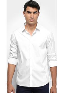 Camisa Calvin Klein Slim Monte Carlo Toque Suave - Masculino-Branco