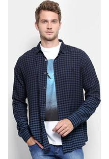 Camisa Xadrez Reserva Vichy Viscose Masculina - Masculino-Azul
