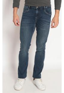 Jeans Reto Slim Fit Estonado - Azulindividual
