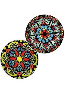 Jogo De Pratos Decorativos De Parede Mandala- Preto & Vedecor Glass