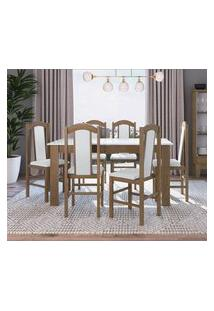 Conjunto Mesa Com 6 Cadeiras Ameixa Negra E Branco Lilies