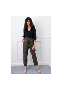 Calça Clochard Em Sarja Sisal Jeans Verde Militar