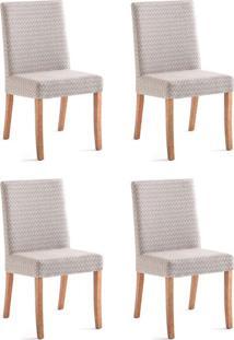 Conjunto Com 4 Cadeiras De Jantar Alberta Marrom E Castanho