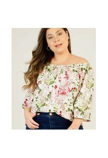 Blusa Plus Size Feminina Ciganinha Floral Marisa