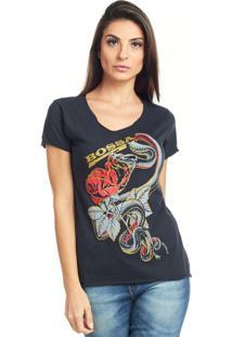 Camiseta Bossa Brasil Rose Snake Preto