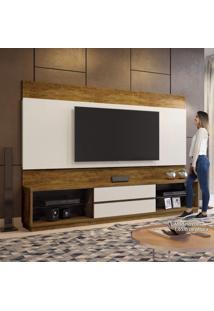"""Estante Home Para Tv Até 65"""" 2 Gavetas Paris Plus Siena Móveis Canion/Off White"""