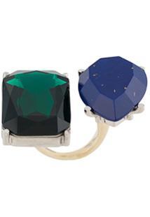 Acne Studios Gemstone Embellished Double Ring - Verde