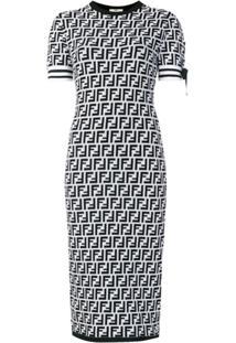 Fendi Vestido Com Logo - Preto