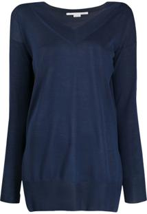 Stella Mccartney Blusa De Tricô Com Fendas Na Lateral - Azul