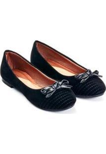 Sapatilha Camurça Mizzi Shoes Matelassê Feminina - Feminino-Preto